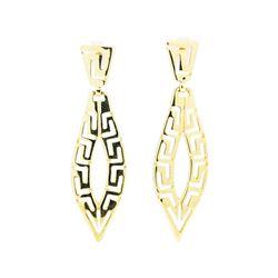 Greek Key Dangle Earrings - 14KT Yellow Gold