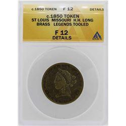 c.1850 St Louis HH Long Brass Legends Token ANACS F12 Details