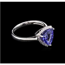 2.82 ctw Tanzanite and Diamond Ring - 14KT White Gold