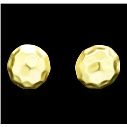 Hammered Button Stud Earrings - Gold Plated