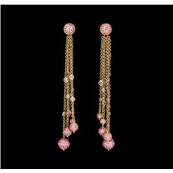 6.96 ctw Pink Sapphire and Diamond Earrings - 18KT Rose Gold