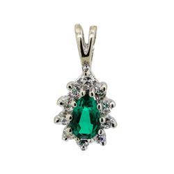 0.10 ctw Diamond and Green Crystal Pendant - 14KT White Gold