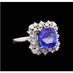 14KT White Gold 5.12 ctw Tanzanite and Diamond Ring