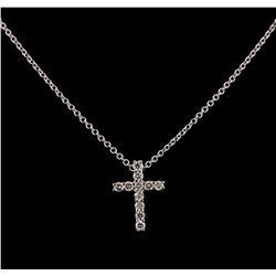 0.31 ctw Diamond Cross Pendant With Chain - 14KT White Gold