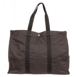 Hermes Gray Canvas Sac Fourre XL Tote Bag