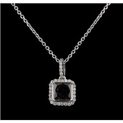 2.56 ctw Fancy Black Diamond Pendant With Chain - 14KT White Gold