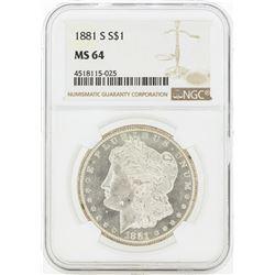 1881-S MS64 NGC Morgan Silver Dollar