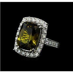 12.73 ctw Alexandrite and Diamond Ring - 14KT White Gold