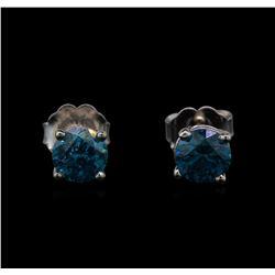 14KT White Gold 0.86 ctw Fancy Blue Diamond Stud Earrings