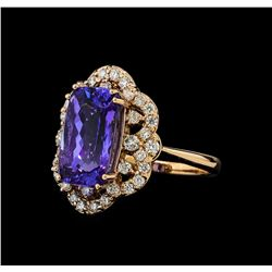 5.58 ctw Tanzanite and Diamond Ring - 14KT Rose Gold