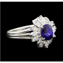 1.28 ctw Sapphire and Diamond Ring - Platinum