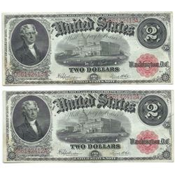 (2) Consecutive 1917 $2 Legal Tender
