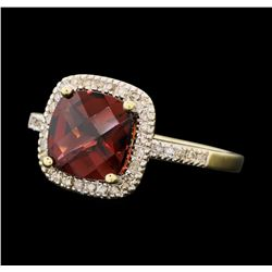 2.65 ctw Garnet And Diamond Ring - 10KT Yellow Gold