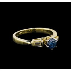 0.67 ctw Blue Diamond Ring - 14KT Yellow Gold