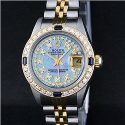 Rolex Two-Tone Blue MOP String Diamond and Sapphire DateJust Ladies Watch