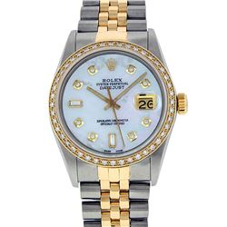 Rolex Two Tone Diamond & Baguette Quickset Sapphire 16233 Dateust Watch