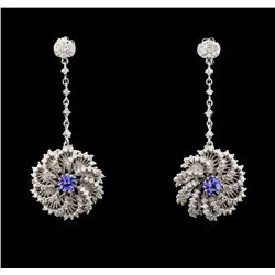 1.21 ctw Tanzanite And Diamond Earrings - 14KT White Gold