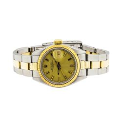 Two-Tone Rolex Oyster Perpetual Date Wrist Watch - Stainless Steel and 18KT Yell