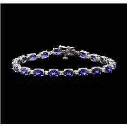12.47 ctw Sapphire and Diamond Bracelet - 14KT White Gold