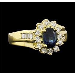 0.50 ctw Sapphire and Diamond Ring - 18KT Yellow Gold