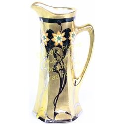"""Large Art Noveau handled vase marked Picard on bottom, 15"""" tall, overlaid in gold and silver motif."""