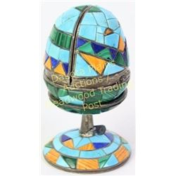 Unique Zuni style Fabergé egg sterling silver with turquoise, blue lapis and coral, egg hinging to r