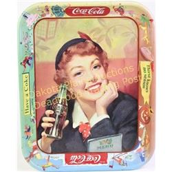 """1950's Coke """"Thirst Knows No Season"""" serving tray showing fine condition, 13"""" tall.  Est. 75-125"""
