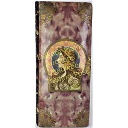 """Beautiful Art Noveau celluloid photo album unusual size 7' X 16"""", missing clasp otherwise very good."""