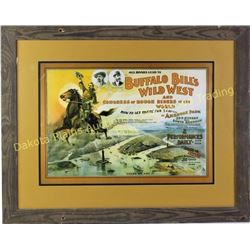 """Reproduction Buffalo Bill Cody Wild West poster in barnwood frame, 26"""" X 33"""".  Est. 50-100"""