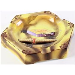 Scarce unmarked Nippon molded porcelain cigar ashtray with raised match box and cigar, hand painted,