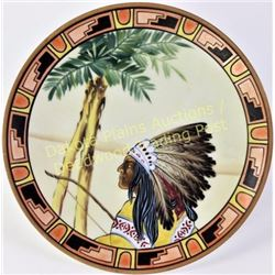 """Hand painted Nippon porcelain hanging plate with scarce Indian Chief pattern, 8"""" diameter with green"""
