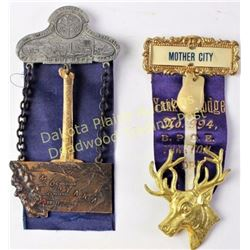 Collection of 2 antique ribbon badges includes Yankton SD Elks 994 with elk ivory and 1911 Butte Mon