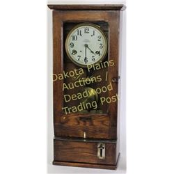 """Oak cased Simplex time clock with original finish in good working order at time of description, 31"""""""