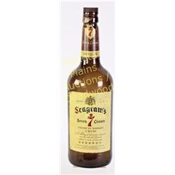 """Large 1 gallon Seagrams Seven bottle complete with labels and lid, 19"""" tall.  Est. 25-75"""