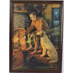 Classic vintage lithograph entitled Fireside Fancies, depicts hunter and his dog. In original frame,
