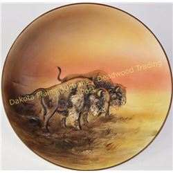 """Rare hand painted Nippon molded raised relief buffalo plaque, 10 1/2"""" diameter with green Nippon M i"""