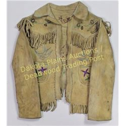 Small childs buckskin and fringed jacket with outside pockets, decorated in thread sewn floral motif