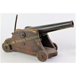 """19th C small cannon on wood carriage, barrel 12"""" overall 15"""". Bore approx .68 cal.  Est. 600-900"""