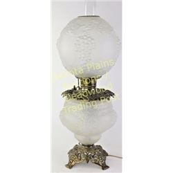 Beautiful Gone with the Wind lamp raised grape pattern in satin glass, electrified, remains in excel