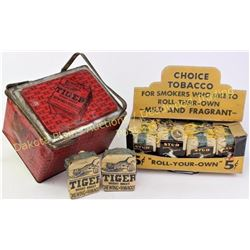 Collection of early tobacco items includes Tiger Bright Sweet Chewing tobacco tin, full NOS Stud Smo