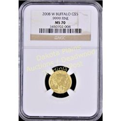 2008 W Buffalo G $5 gold coin MS 70 slabbed and graded.  Est. 600-1200