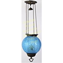 Pull down gas light with etched blue globe in very good condition including font and wick.  Est. 150