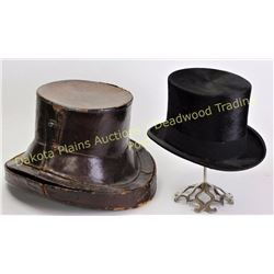 19th C. mans wool felt top hat with liner, marked Brooks Brothers New York size 7 1/8 , shows fine c
