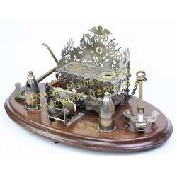 Exceptional European desk set with nautical theme, dated 7/26/1889, center of pierced German nickel