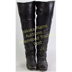 """Exceptionally rare and early leather Wild West Show boots with impressive 26"""" tall uppers in the sty"""