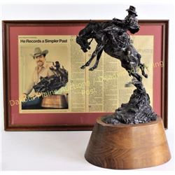 """""""Surprise"""" bronze by cowboy artist of America Herb Mignery. Mounted on walnut base stands 20"""" tall,"""
