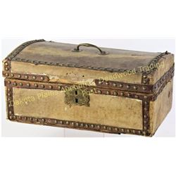 """Leather and brass tacked document box with domed top 7"""" X 14"""".  Est. 100-200"""