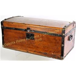 """Early pine pioneers travel trunk 11"""" X 24"""". Est. 100-200"""