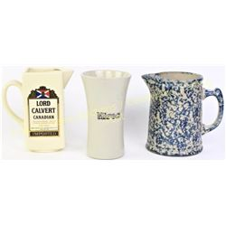 Collection of 3 includes porcelain Lord Calvert water pitcher, original stoneware Hires Root Beer mu