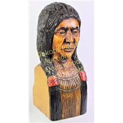"""Large contemporary carved wooden Indian bust 21"""" tall, hand painted.  Est. 150-200"""